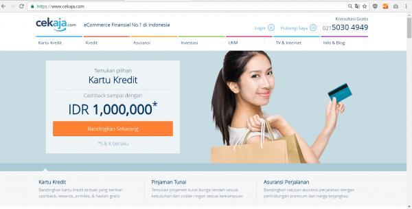 CekAja.com, homepage