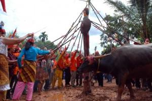 SAMPIT, 23/5 - UPACARA TIWAH. Sejumlah ahli waris yang dipimpin oleh pemuka agama Hindu Kaharingan mengacungkan tombak ke atas Sepundu sebelum menombak ke kerbau dalam upacara tiwah massal di Desa Pondok Damar, Sampit, Kalimantan Tengah, Sabtu (22/5). Upacara tewah ini merupakan upacara untuk mengantar arwah leluhur yang sudah meninggal menuju surga bagai Masyarakat Dayak dengan agama Hindu Kaharingan. FOTO ANTARA/Wihdan Hidayat/nz/10