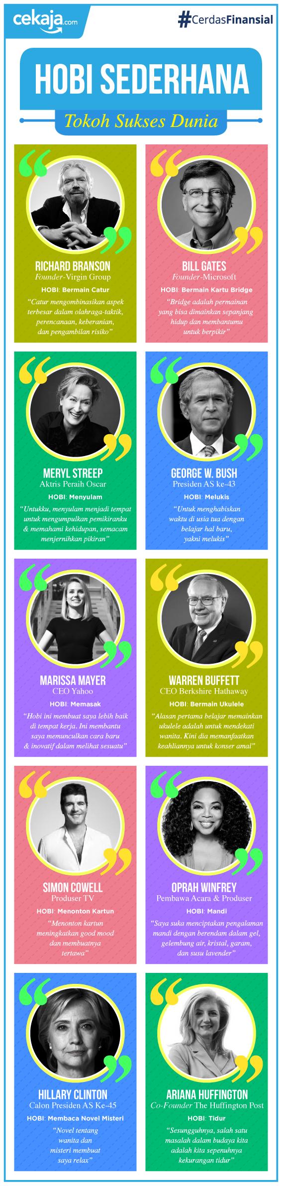infografis-hobi tokoh sukses dunia - CekAja.com