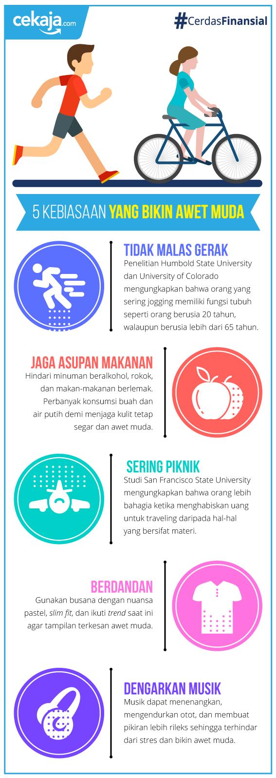 infografis-kebiasaan bikin awet muda - CekAja.com